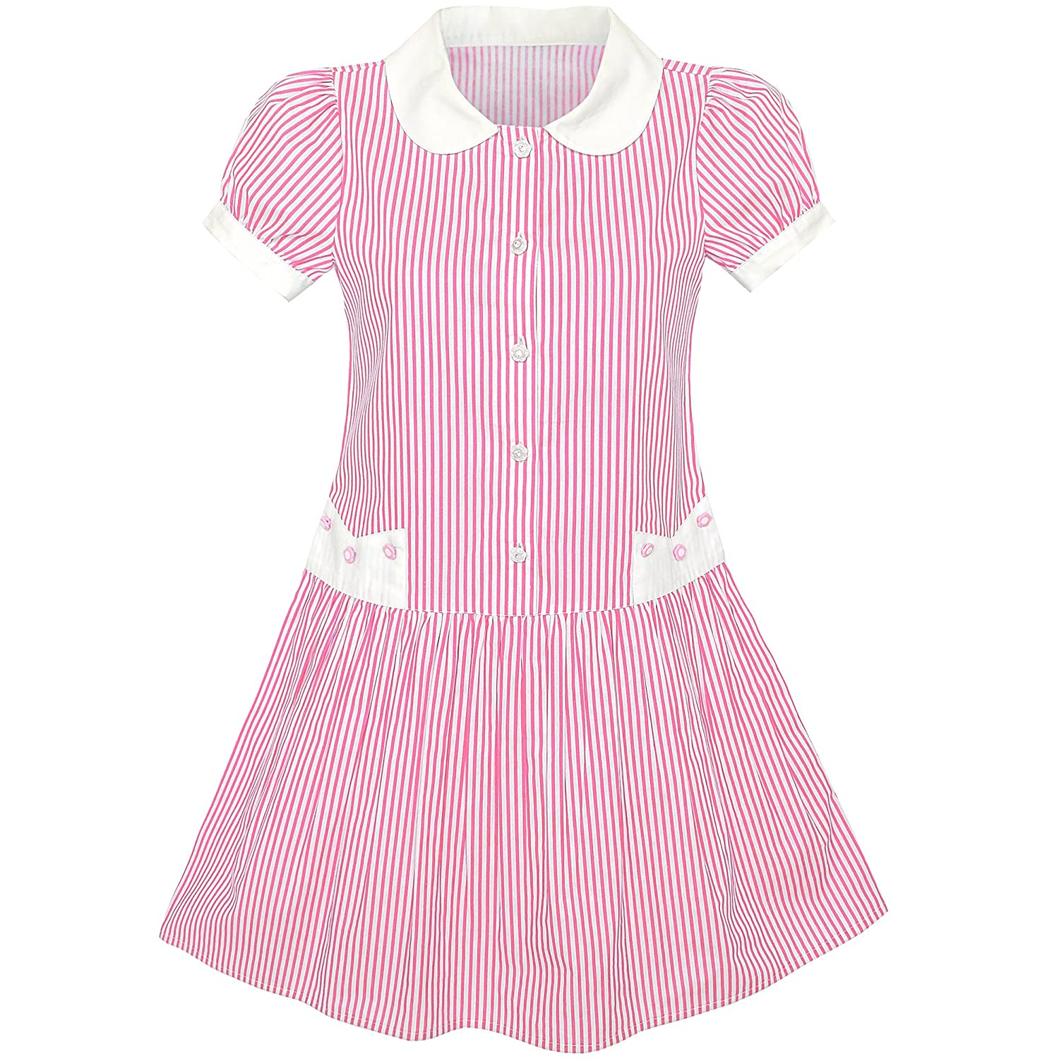 Sunny Fashion Girls Dress Blue White Stripe Collar School Short Sleeve Size 5-12