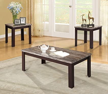 Excellent Amazon Com Acme Carly 3 Piece Coffee Table Set In Cherry Machost Co Dining Chair Design Ideas Machostcouk