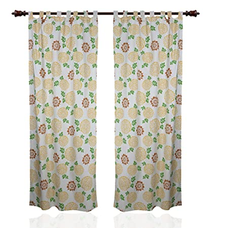 Summer Curtains For Living Room Cotton Panels Floral Decor 213x102cm Set Of 2