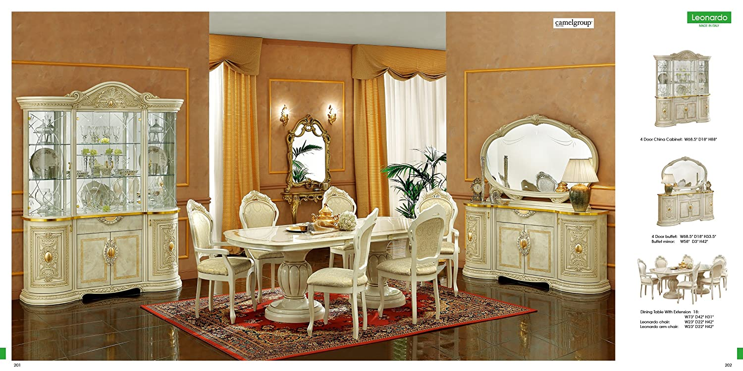 Amazon.com   ESF Leonardo 7 Pieces Traditional Ivory Finish Classic Italian Dining  Room Set   Table U0026 Chair Sets Part 96