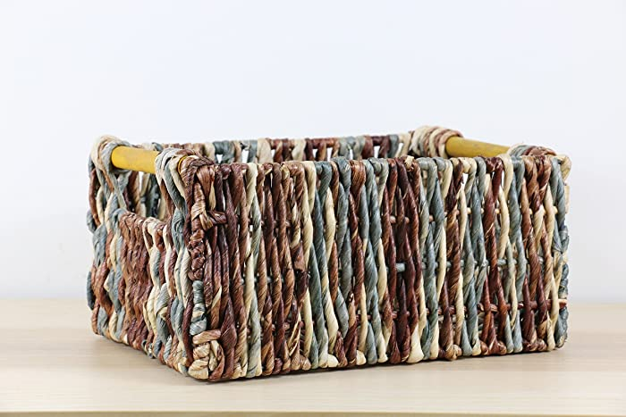 Rustic Braided Multi Colored Baskets With Wood Built In Handles/Storage  Basket/