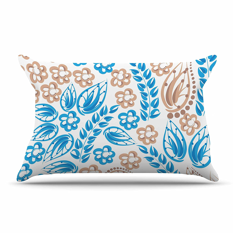 Kess InHouse Maria Bazarova Blue White Flowers Featherweight Sham 30 X 20