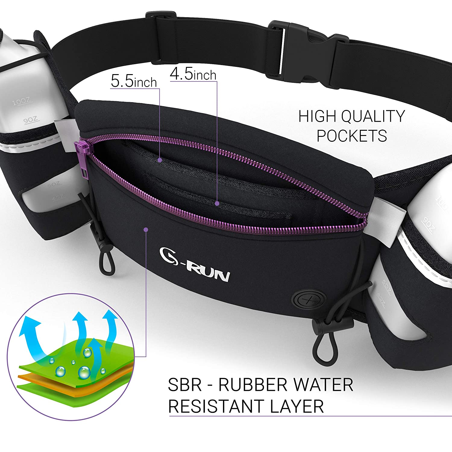 Jogging Waist Pouch/… Fuel Marathon Race Pack for Runners G-RUN Hydration Running Belt with Bottles iPhone Belt for Any Phone Size Water Belts for Woman and Men