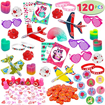 JOYIN 120+Pcs Happy Valentines Day Party Favor Supplies Set includes Heart Glasses, Bracelet, bookmark Perfect for Kids, Preschool Decorations, Photo Props, Wedding, Baby Shower, and School Classroom Prizes.: Toys & Games