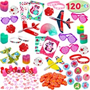 JOYIN 120+Pcs Happy Valentines Day Party Favor Supplies Set includes Heart Glasses, Bracelet, bookmark Perfect for Kids, Pres
