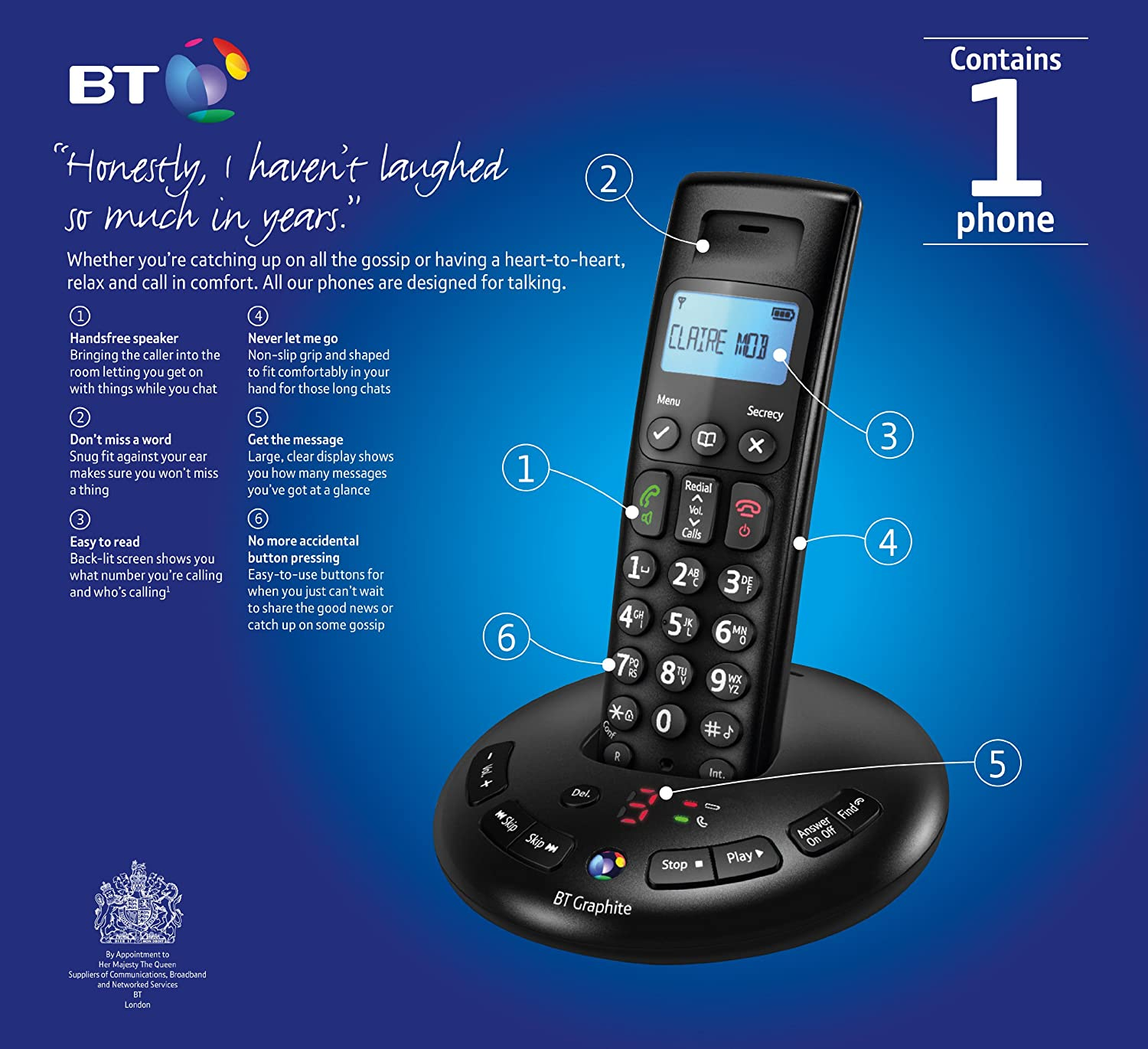 BT Graphite 2500 Single DECT Digital Cordless Phone: Amazon.co.uk:  Electronics