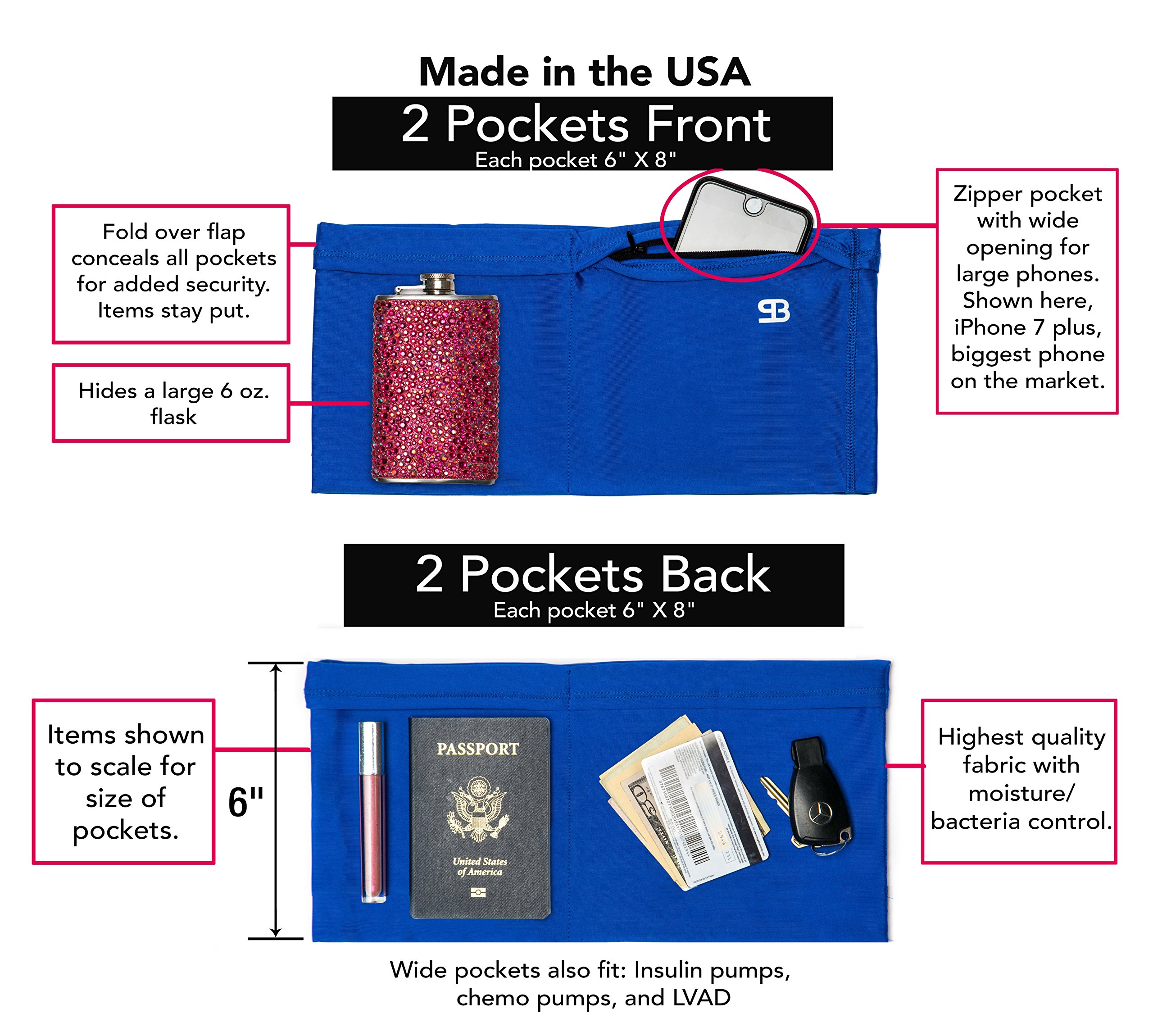 Fanny Pack, Passport Holder, Runners Belt, Waist Pack, Smart Phone Holder & Money Belt All-in-One Lifestyle Accessory for Women, with 4 Large & Secure Pockets, Zipper, Extra Wide Spandex by Stashbandz (Image #3)
