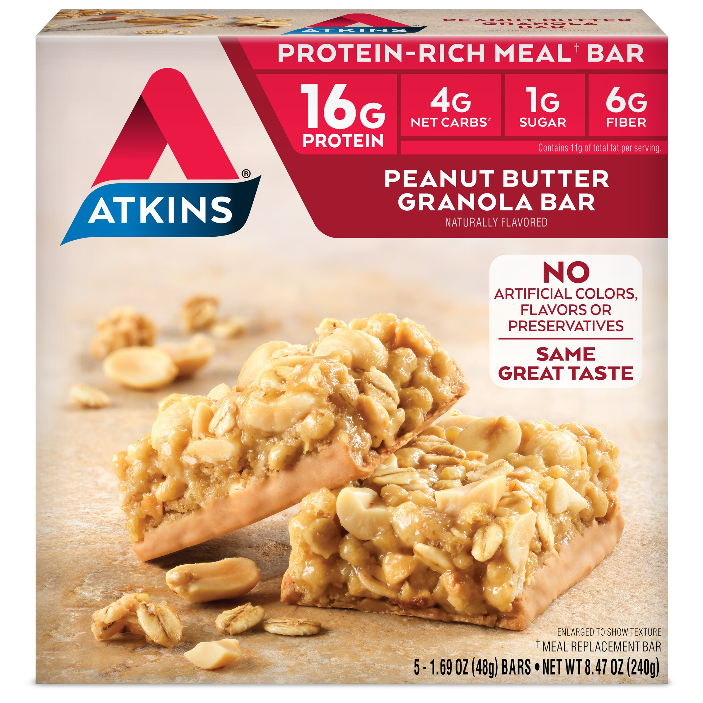 Atkins Protein-Rich Meal Bar, Peanut Butter Granola, 5 Count, Package may vary by Atkins