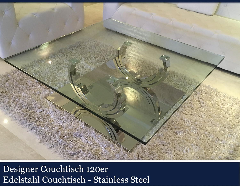 Designer Couchtisch Edelstahl Wohnzimmertisch Glastisch Glas ...