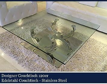 Designer Couchtisch Edelstahl Wohnzimmertisch Glastisch Glas