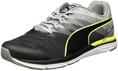 Puma Men's Speed 300 Ignite Black, Quarry and Safety Yellow Running Shoes -  11 UK