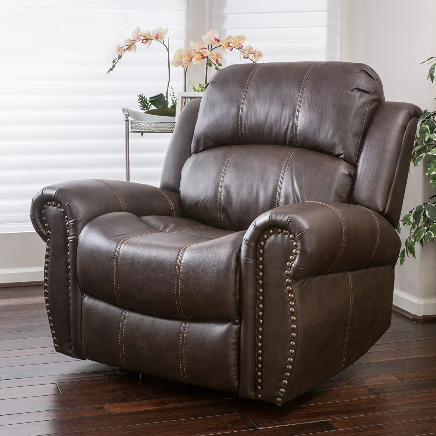 Christopher Knight Home 296466 Harbor Brown Leather Glider Recliner Club Chair,