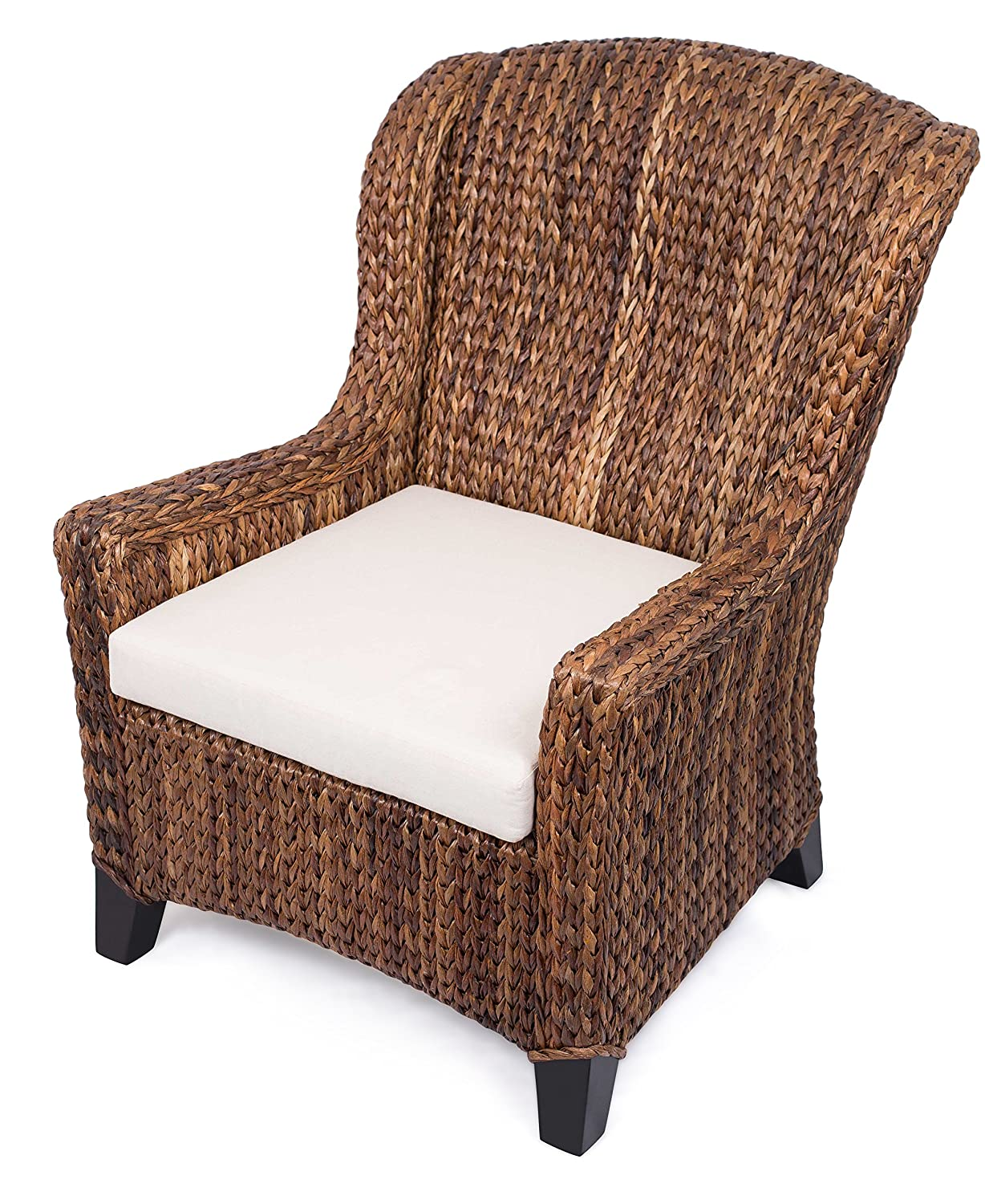 BIRDROCK HOME Abaca and Seagrass Wing Chair with Ottoman Espresso Leg Color Removable Cushion Arms Fully Assembled
