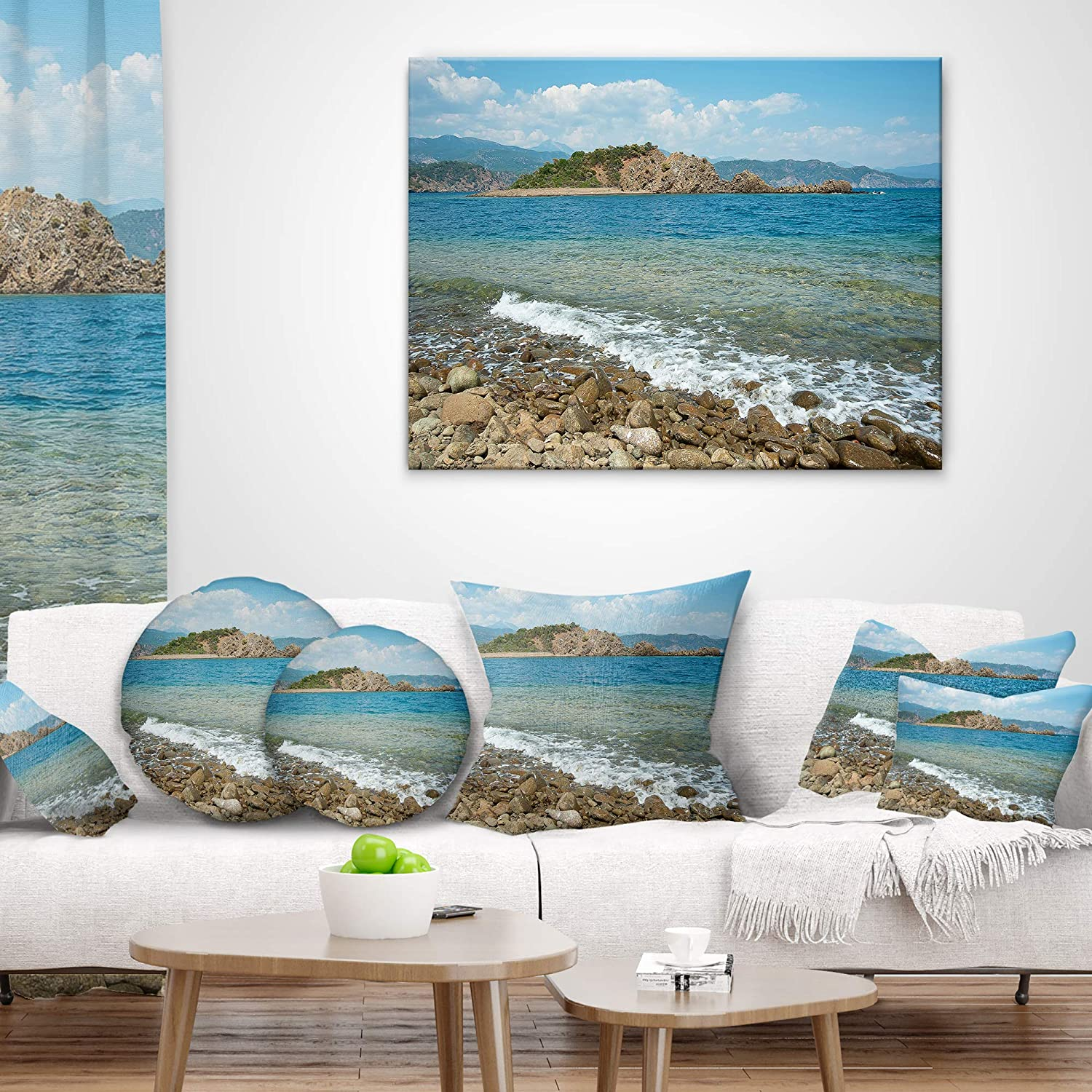 Insert Printed On Both Side Designart CU11106-26-26 Small Isle Turkey Panorama Seashore Cushion Cover for Living Room in x 26 in Sofa Throw Pillow 26 in