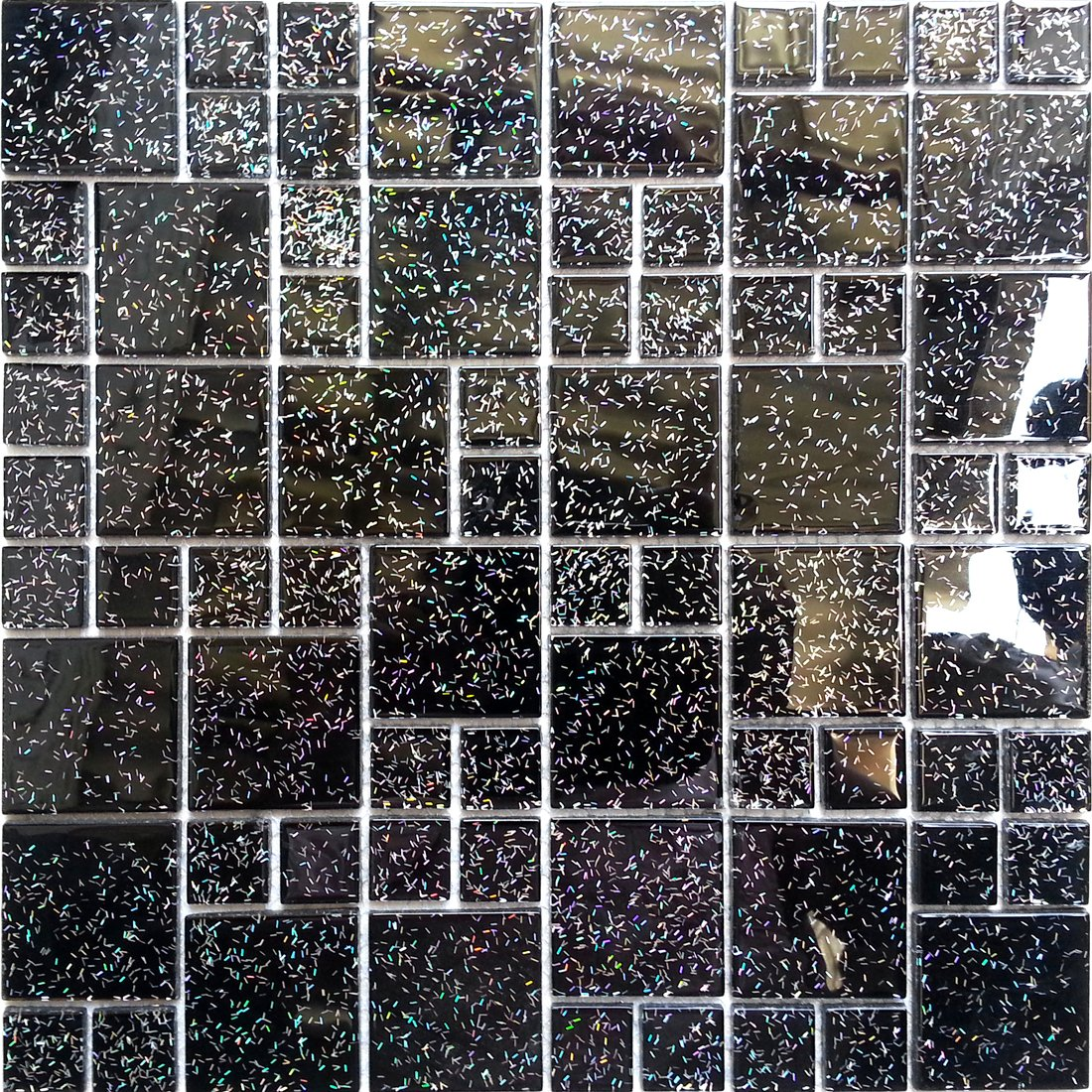 30cm x 30cm black glitter modular mix glass mosaic tiles sheet 30cm x 30cm black glitter modular mix glass mosaic tiles sheet mt0011 amazon diy tools dailygadgetfo Image collections