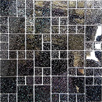 30cm x 30cm black glitter modular mix glass mosaic tiles sheet