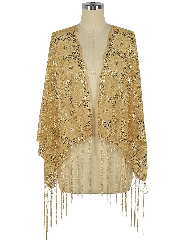 PrettyGuide Women's 1920s Shawl Sequin Fringed Wedding Cape Evening Shawl V811-040CE
