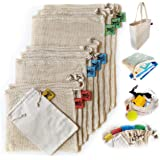 Reusable Produce Bags   Organic Cotton Mesh   Recyclable   Machine Washable   Tare Weight on Label   Double-Stitched Seams   Stainless Steel Clasp   Set of 9 (1 Grain - 2 Small - 3 Medium - 3 Large)