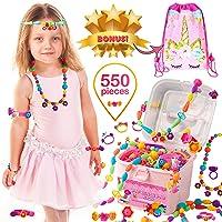 Orian Pop Beads Jewelry Making Kit for Kids, 550+ Piece Set, Pop Beads for Girls...