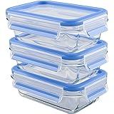Emsa 514961 Lot de 3 boîtes alimentaires en verre avec couvercle, 0.5 L, Transparent/bleu, Clip & Close