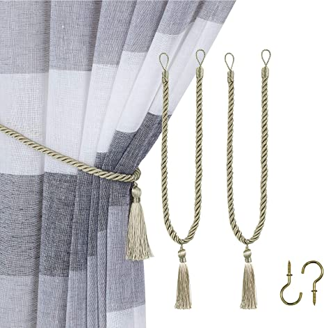 home queen decorative tassel rope tie backs for window curtain hand knitting buckle cord drapery holdbacks set of 2 beige