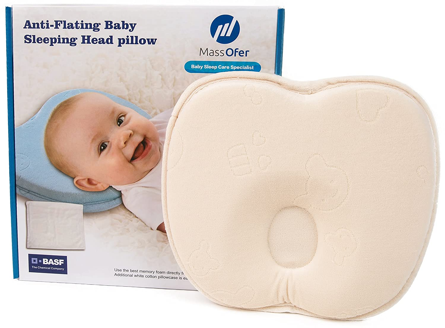 Baby pillow for newporn with pillow cases, Make with Memory Foam Protector and friendly Massofer