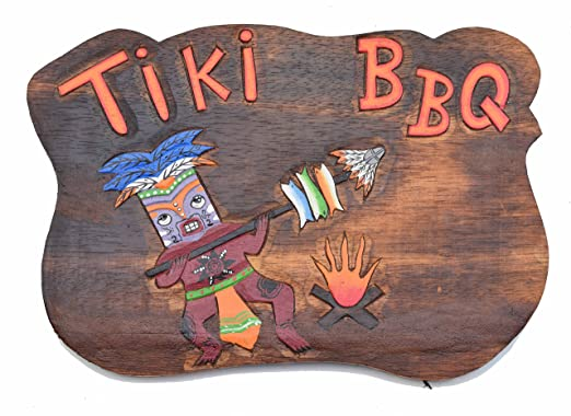Interlifestyle Cartel de Madera 40 cm Tiki BBQ Hawaii en ...