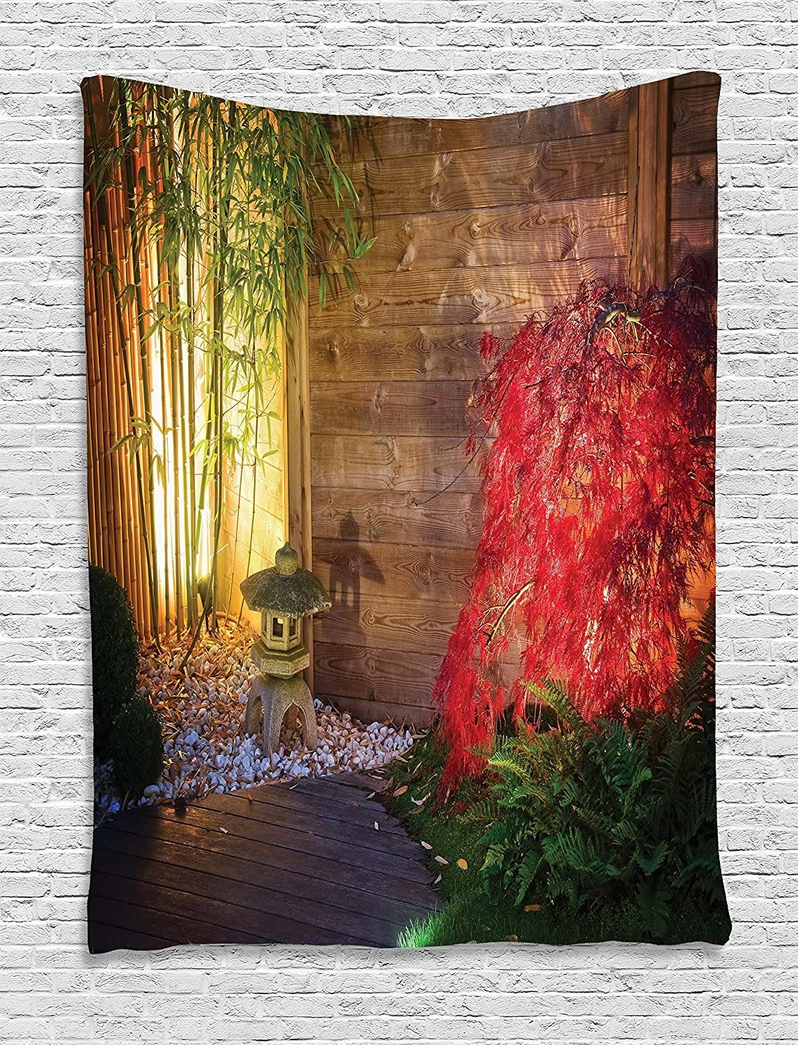 JAMES STRAIN Garden Tapestry, Japanese Stone Lantern and Red Maple Tree in an Autumnal Zen Garden Bamboo Trees, Wall Hanging for Bedroom Living Room Dorm, 60 W X 80 L Inches, Multicolor