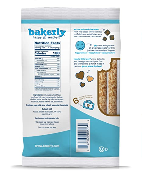 bakerly chocolate hazelnut filled crepes pack of 9 6 count 54 total crepes amazon com grocery gourmet food