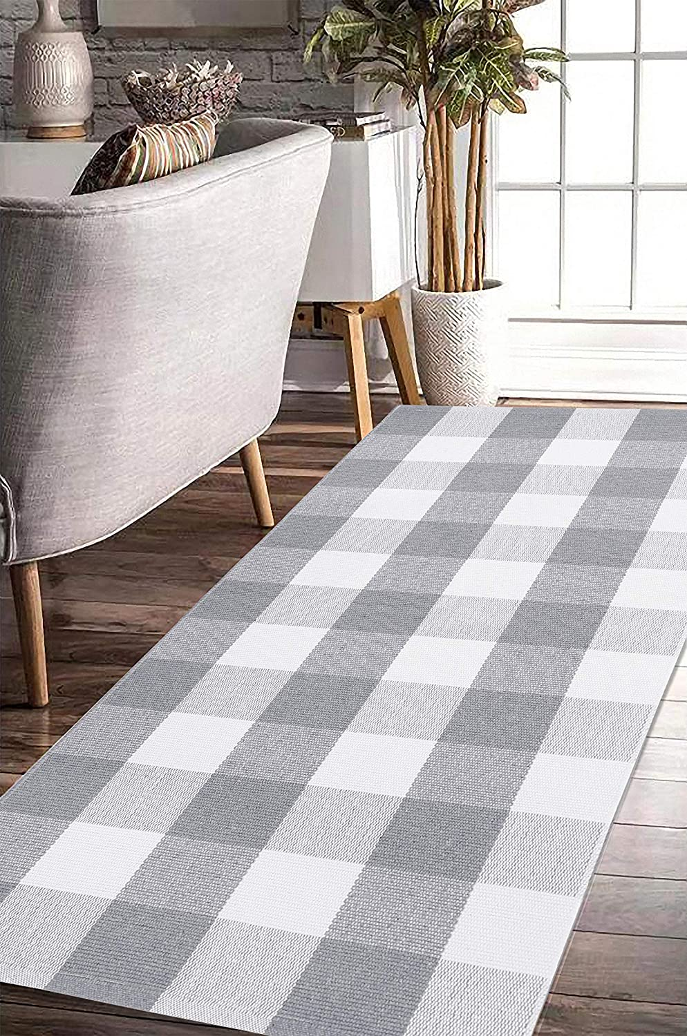 """EARTHALL Buffalo Plaid Rug Grey and White Rug Cotton, Hand-Woven Buffalo Check Rug Runner, Hallway Runner, Washable Plaid Outdoor Rug Entryway/Front Porch/Kitchen/Bathroom/Bedroom (23.6""""x51.2"""")"""