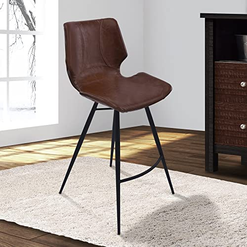 Armen Living Zurich 26 Counter Height Barstool in Vintage Coffee Faux Leather and Matte Black Metal Finish