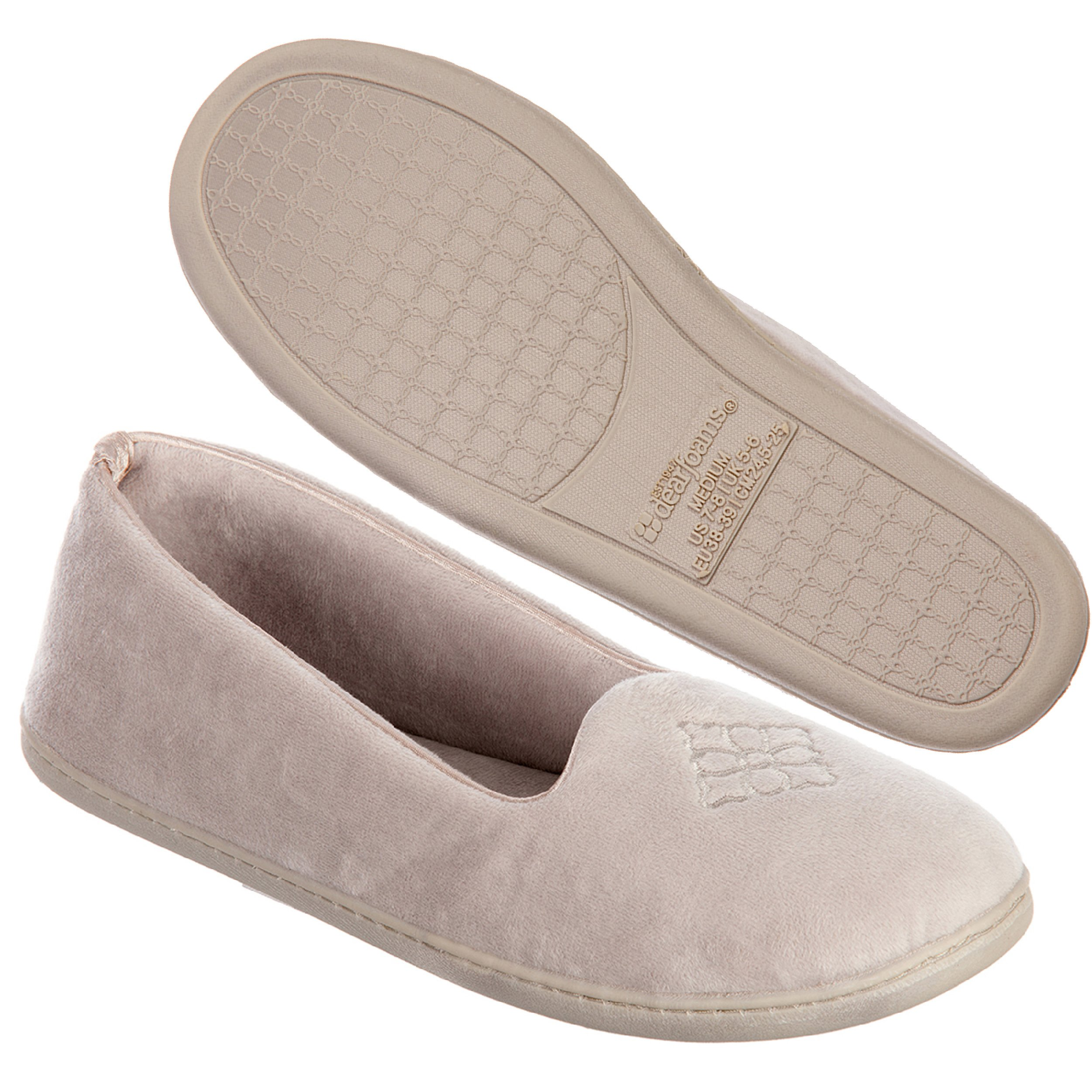 Dearfoams Women's Velour Closed Back Slipper, Pewter, Large/9-10 M US
