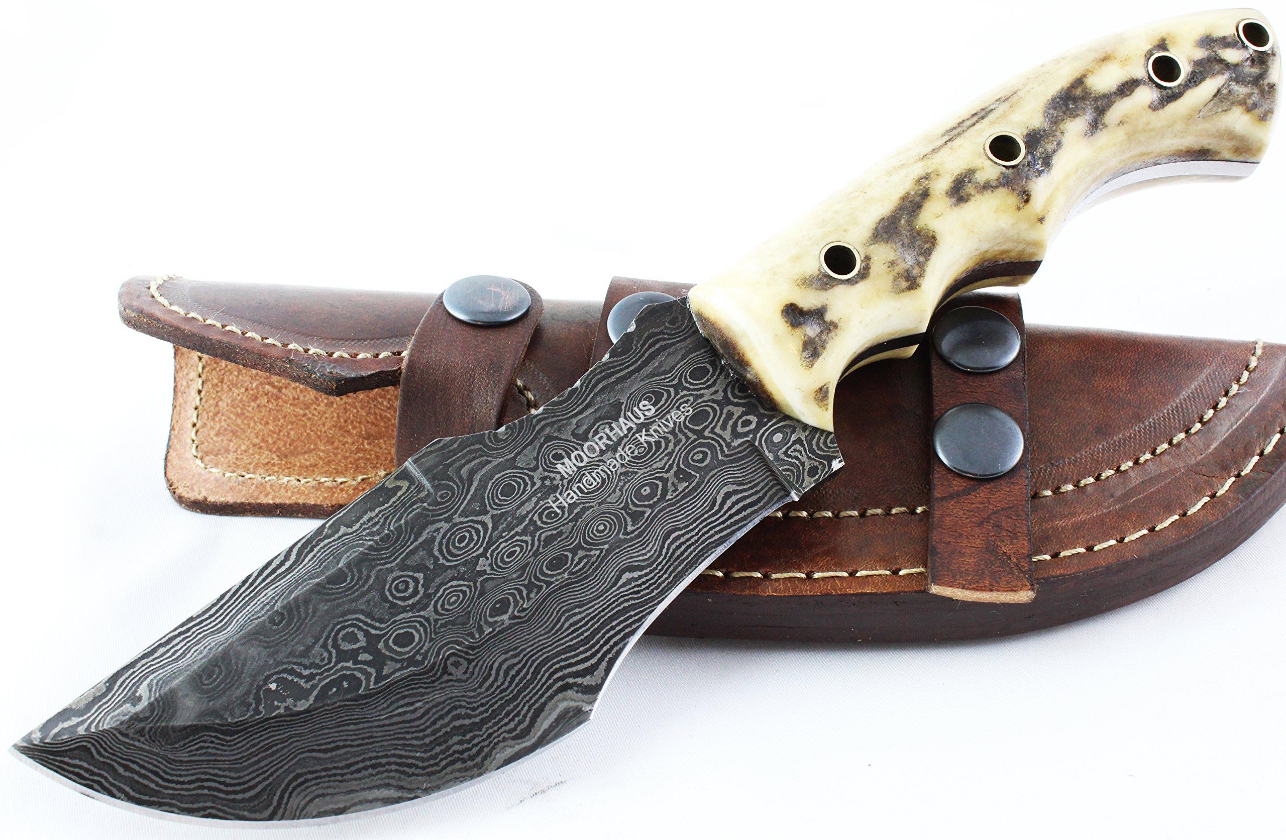 Moorhaus Handmade Raindrop Damascus Genuine Stag Tracker Knife Sub Hilt with Serrated Upper Spine - a work of art!
