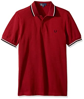 e50155eb881 Fred Perry pour Homme Twin avec Pointe Polo - Rouge - S