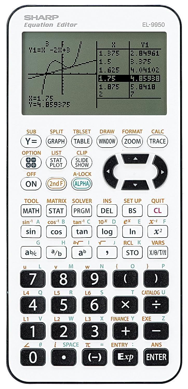 Sharp Electronics EL9950 Grafikrechner für Sekundarstufe I plus II, weiß/schwarz weiß/schwarz