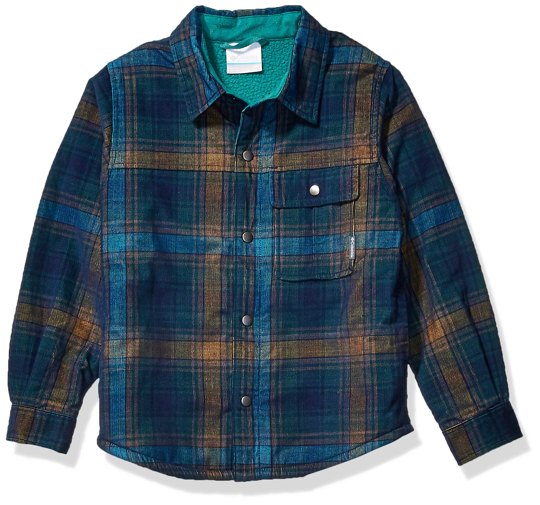 Columbia Boys' Big Windward Sherpa-Lined Shirt Jacket, Pine Green Plaid, X-Large by Columbia