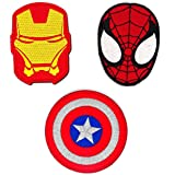 3 Pcs Superhero Patches Marvel Patches Iron Man Spider-Man Captain America Shield Velcro Embroidered Patches Embroidery Appli