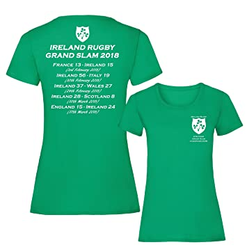 5d84cf10140 D2W Ireland Rugby 6 Nations Grand Slam Champions 2018 Womens T-Shirt (Small  8