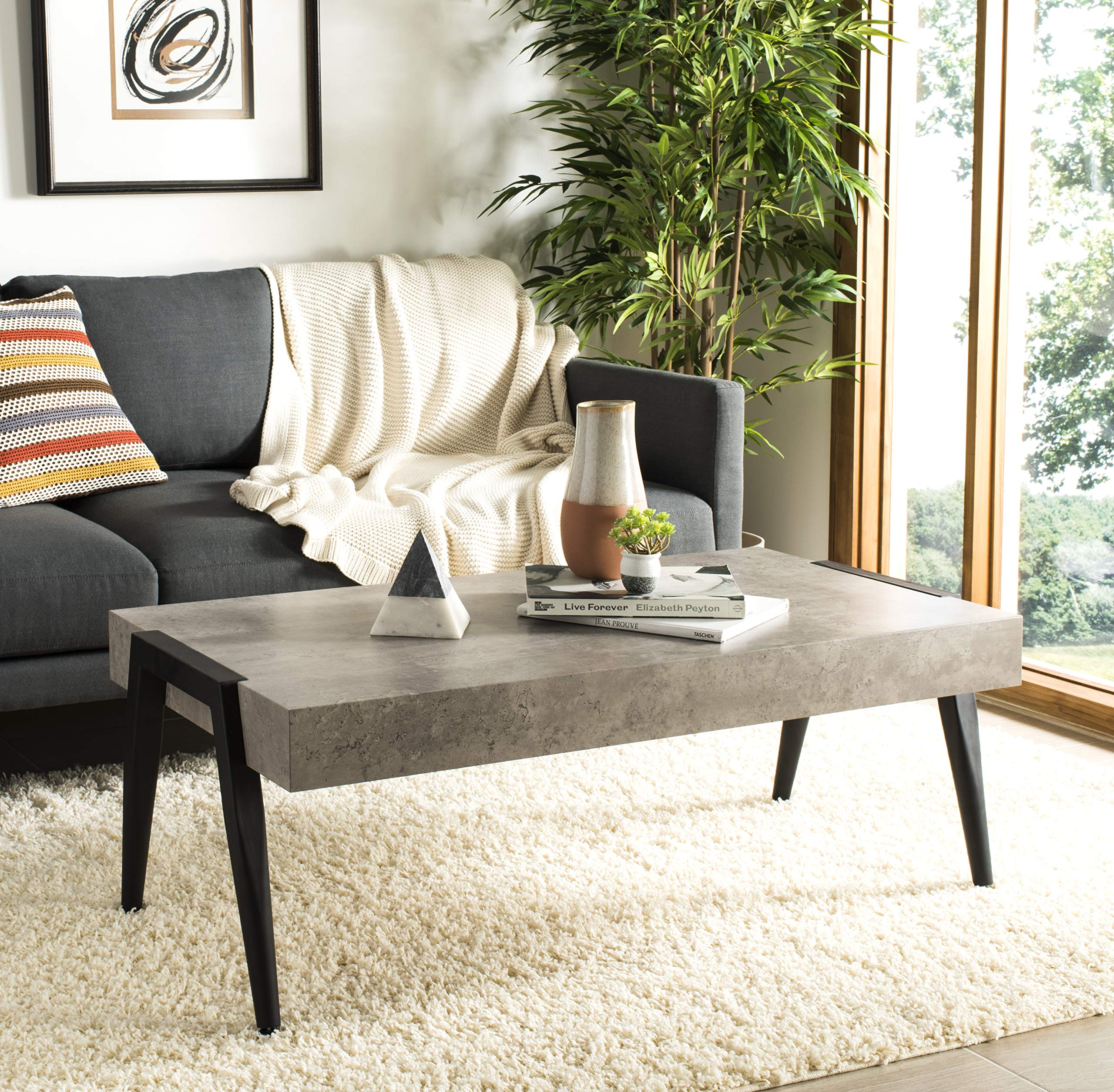 Safavieh Home Collection Cameron Light Grey and Black Rectangular Midcentury Modern Coffee Table by Safavieh