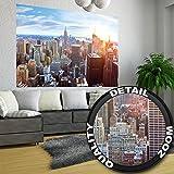 XXL Poster New York City Skyline - Wandbild Dekoration Penthouse Sonnenuntergang Manhattan Amerika USA Deko Big Apple NYC   Wandposter Fotoposter Wanddeko Wandgestaltung by GREAT ART (140 x 100 cm)