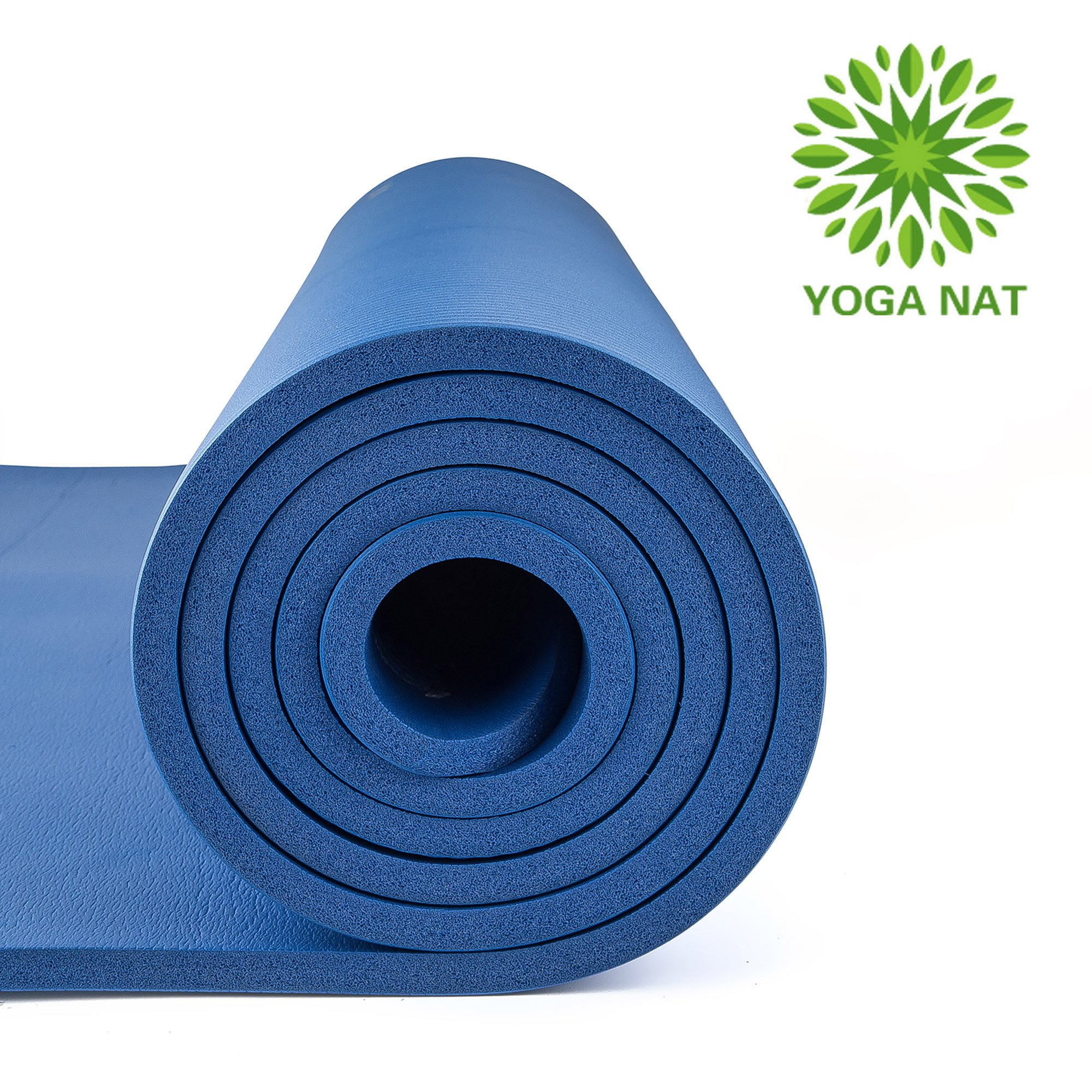 "Yoga Nat Yoga Mat, Mat 2/5"" Thickness 72"" Long 24"" Wide NBR Multiple Use Exercise and Yoga Mat with Carrying Travel Bag and Strap"