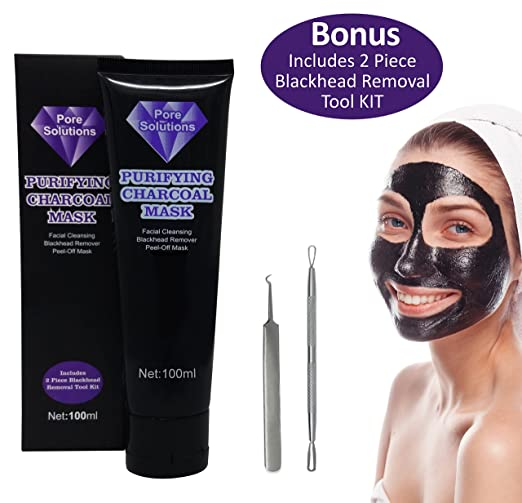 Pore Solutions, Black Mask, Blackhead Remover, Charcoal Peel Off Homemade Face Mask