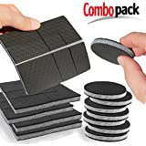 """SlipToGrip Furniture Pads - Combo Pack - 24 Pieces 2"""" Wide - Includes 2"""" Round Pads (8 Pieces) PLUS 4"""" Square Prescored Pads (4 Pieces - Makes 16 2"""" pcs). Stops Furniture Slipping. It works!"""