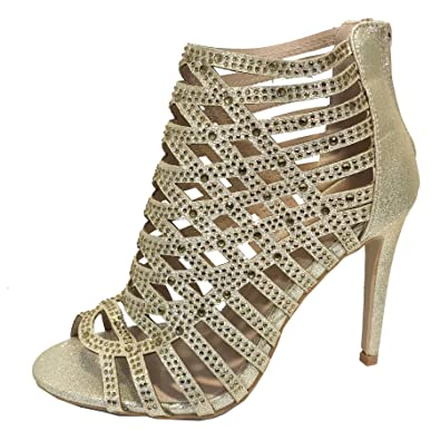20780c0d9994 Ladies Diamante High Heel Sandals Shoes Caged Evening Booties UK Size 3-8  20383