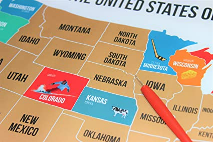Show Me The Map Of United States Of America.Amazon Com Jaymic Scratch Off Travel Map Of Usa Track Your
