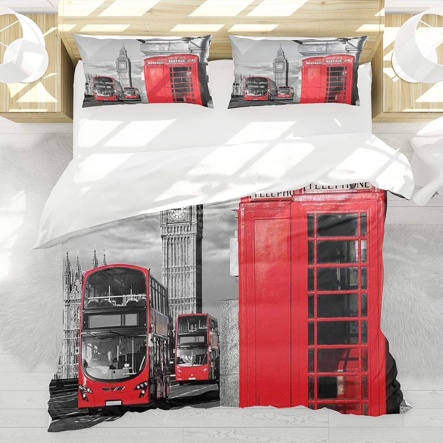 BEDNRY Bedding Set,London London Telephone Booth in The Street Traditional Local Cultural Icon England UK Retro Theme,Decorative 3 Pieces,1 Duvet Cover with 2 Pillow Shams,Queen Size
