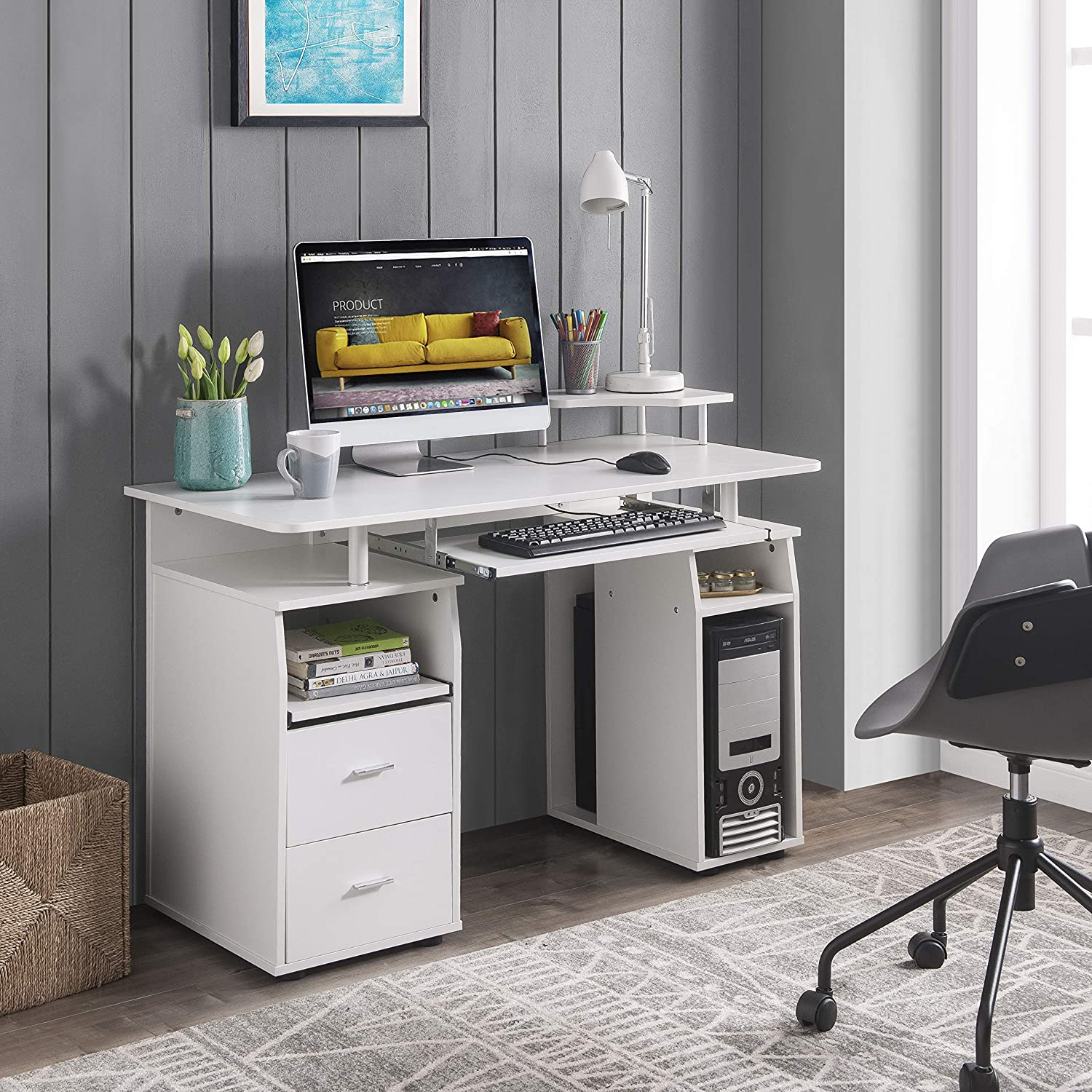 FURLKHY Computer Desk with Drawers, Wood Frame Home Office Desk with Spacious Desktop