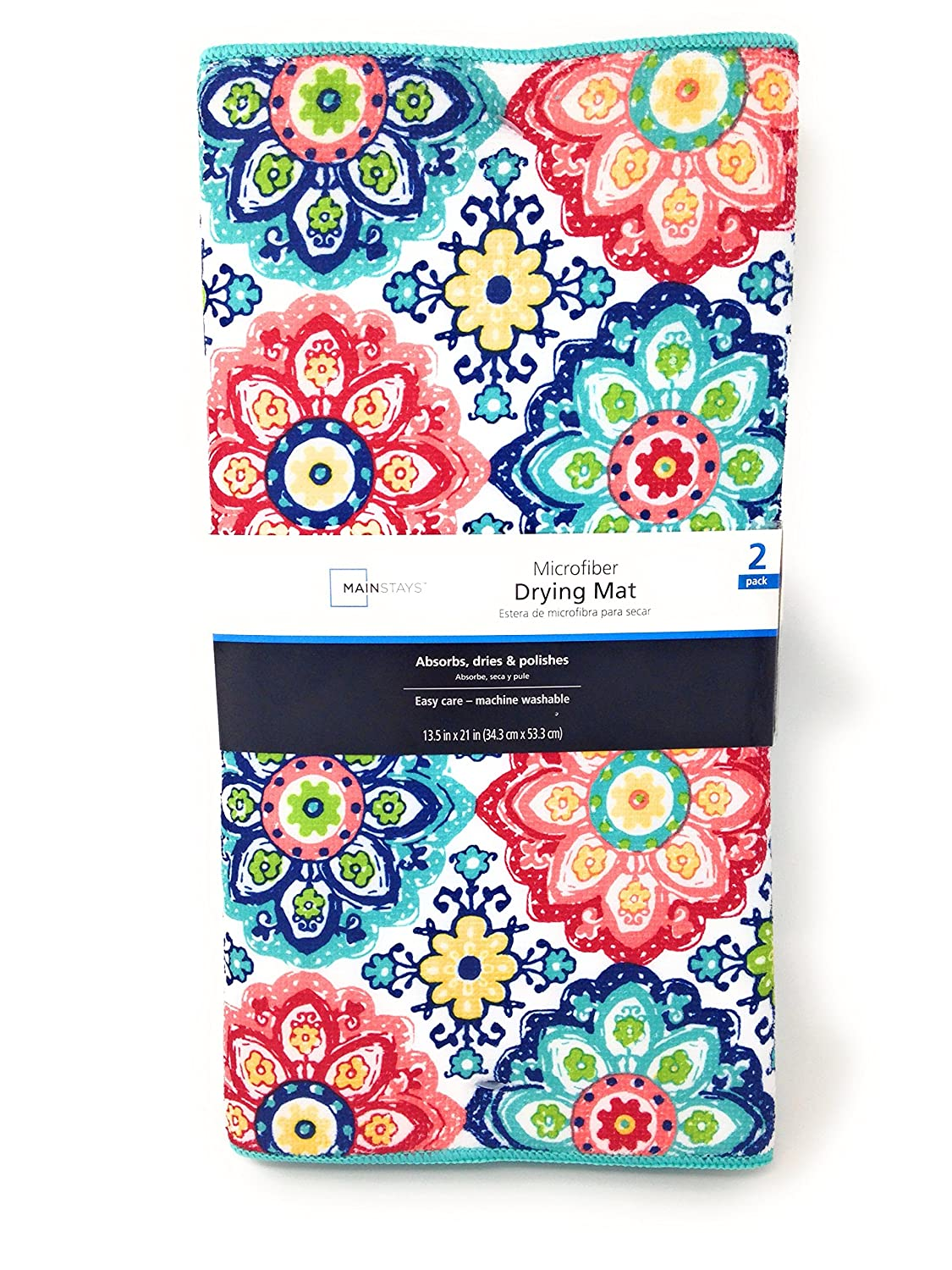 Mainstays Reversible Dish Drying Mat 2-Pack Turquoise and Multicolor Boho Medallion Walmart