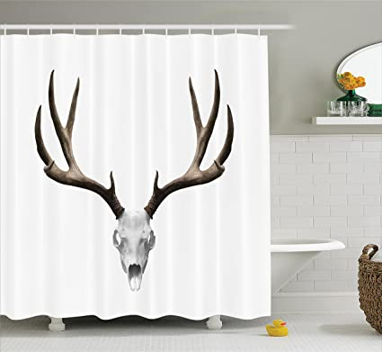 Ambesonne Antlers Decor Shower Curtain Set, Deer Skull Skeleton Head Bone  Halloween Weathered Hunter Collection