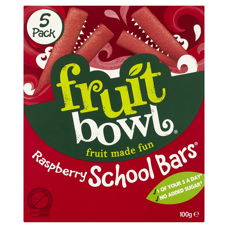 Fruitbowl Raspberry School Bars Multi-Packs 20 g (Pack of 12, Total 60 Bars) Fruit Bowl